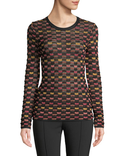 Metallic Checker Long-Sleeve Top