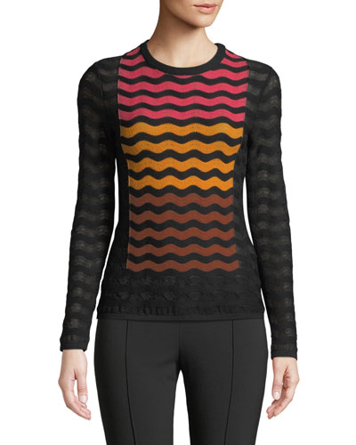 Ripple Intarsia Knit Top