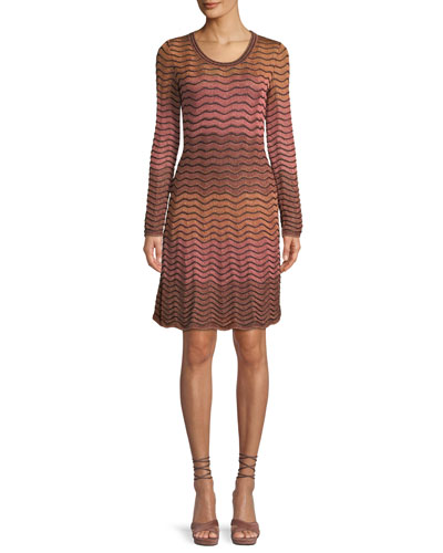 Long-Sleeve Metallic Ripple Knit Dress