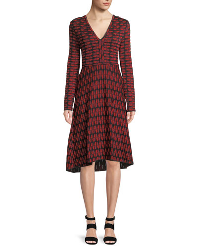 Geometric Jacquard Long-Sleeve Dress