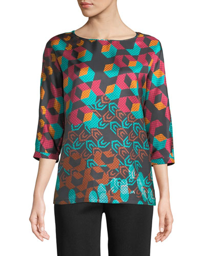 3/4-Sleeve Geometric Silk Top