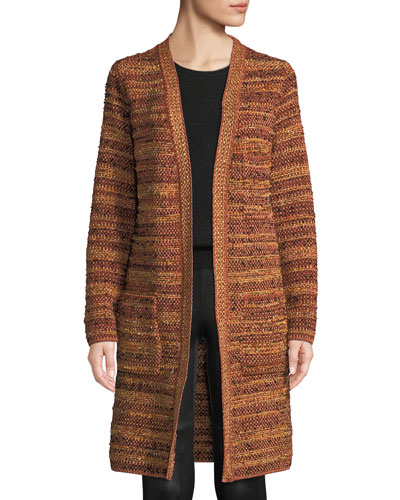 Metallic-Knit Boucle Long Jacket