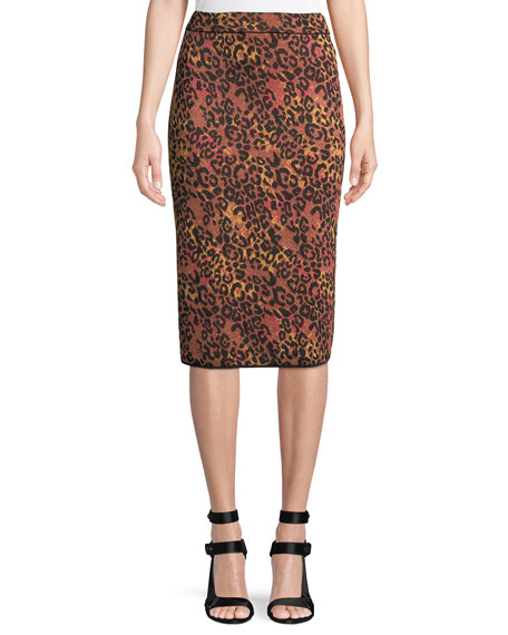 M Missoni Metallic Animal-Print Pencil Skirt
