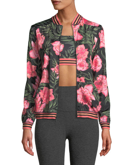 Beyond Yoga True Stripes Floral Bomber Jacket