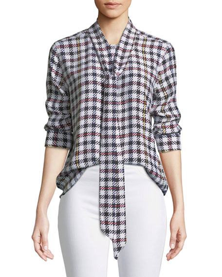 Equipment Luis Scholar Plaid Necktie Silk Blouse