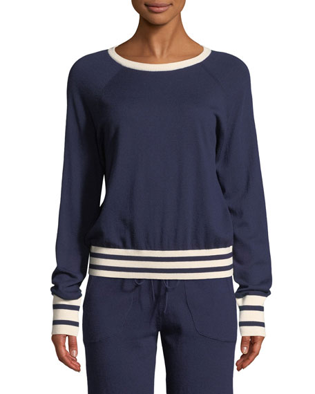Axel Striped-Trim Cropped Tennis Sweater