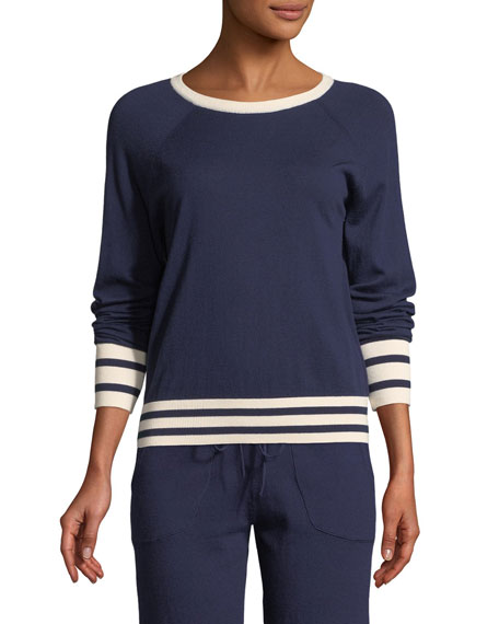 Equipment Axel Striped-Trim Cropped Tennis Sweater and Matching