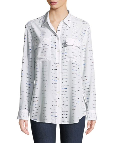 Signature Library Stamp Silk Shirt