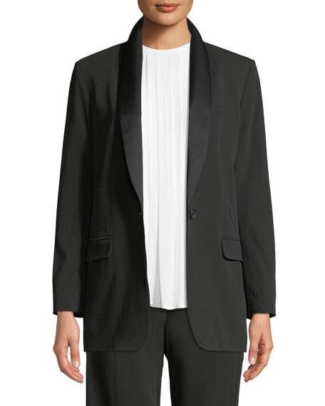Equipment Quincy Wool-Crepe Blazer with Duchess Satin Trim