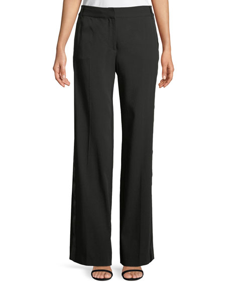 Hagan Wool-Crepe Trousers with Duchess Satin Trim