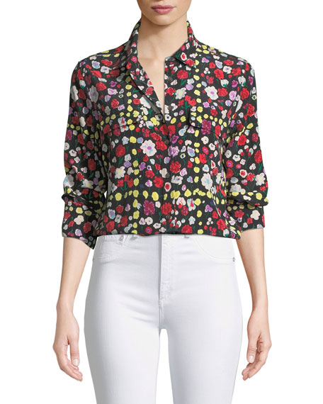 Equipment Slim Signature Long-Sleeve Grid Floral-Print Shirt