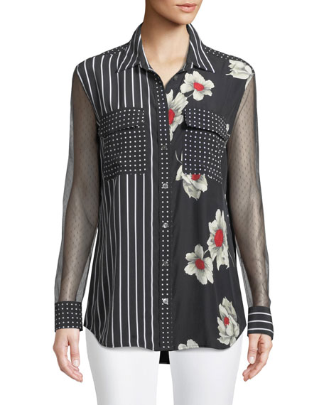 Equipment Mixed-Print Signature Silk Blouse