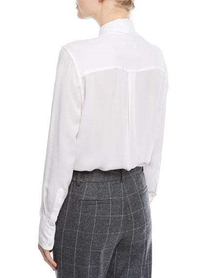 Luis Tie-Front Silk Blouse
