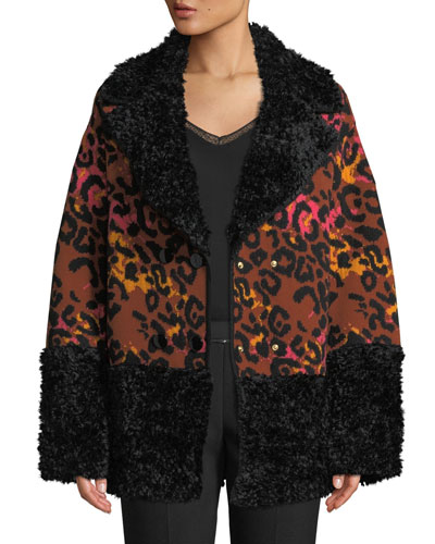 Leopard-Print Animal Jacquard Coat