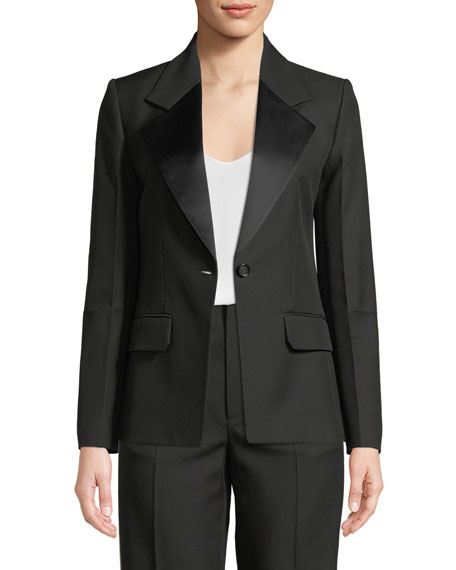 Shiny-Lapel One-Button Canvas Tux Blazer