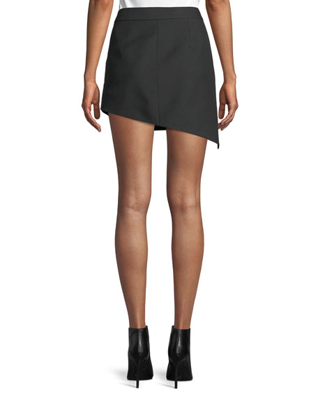 Shifted Asymmetric Canvas Mini Skirt