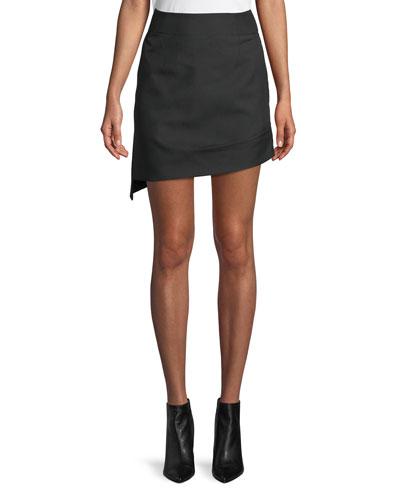 Shifted Asymmetric Canvas Mini Skirt