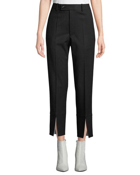 Front-Slit Cropped Wool Suit Pants