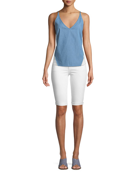 Mid-Rise Skinny Bermuda Shorts, Blanc