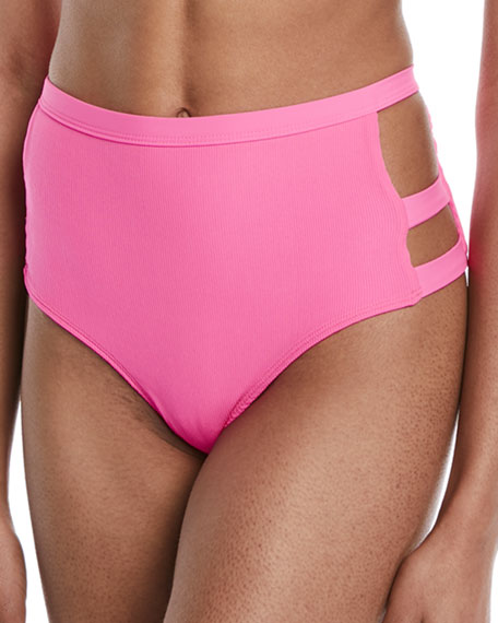 Nobel High-Waist Side-Cutout Swim Bikini Bottom