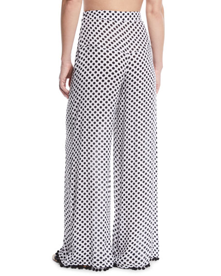 Lillian Polka-Dot Print Wide-Leg Pants