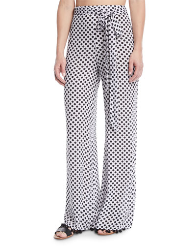 Lillian Polka-Dot Print Wide-Leg Pants