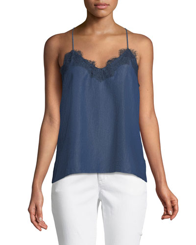 The Racer Chambray Cami Top with Lace Trim