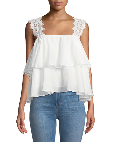 The Vanessa Ruffle Lace Tank in White