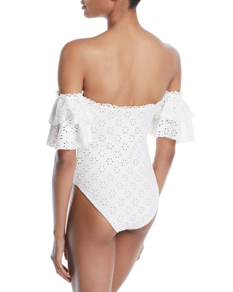 Cori Eyelet Off-the-Shoulder One-Piece Swimsuit