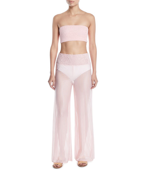 Lara High-Waist Striped Wide-Leg Coverup Pants