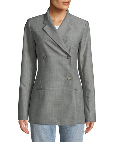 Helmut Lang Double-Breasted Wool/Mohair Blazer Jacket