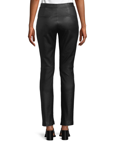 Straight-Leg Leather Suit Pants
