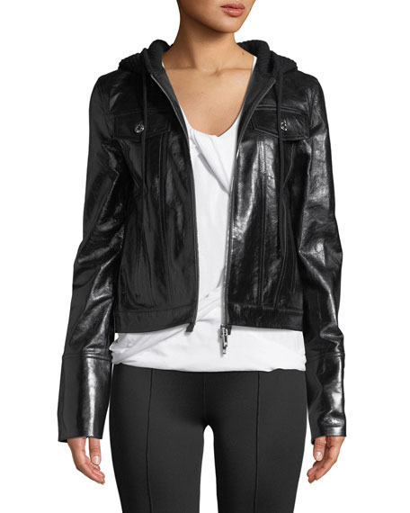 Hooded Zip-Front Leather Jacket