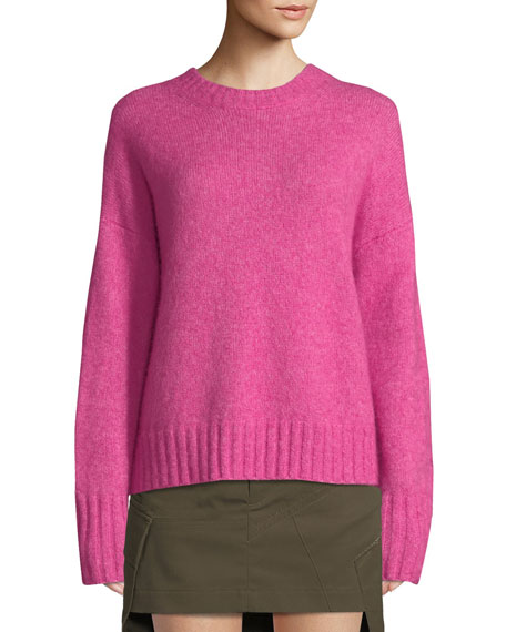 Brushed Knit Wool-Blend Sweater - Pink Size M