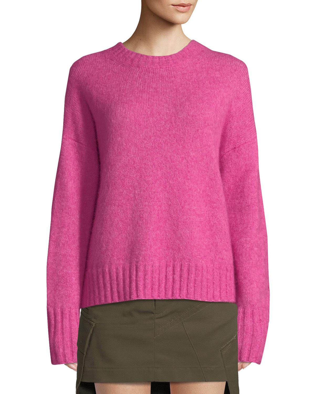 c61c370405 Helmut Lang Brushed Wool-Alpaca Crewneck Sweater