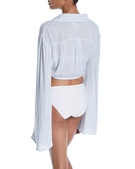 Raquel Striped Tie-Front Beach Shirt