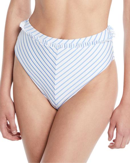 TULAROSA Em Striped High-Waist Bikini Bottoms in Blue