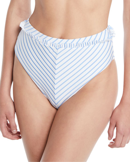 Em Striped High-Waist Bikini Bottoms
