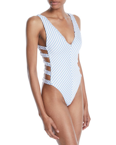 Bettie Striped Cutout High-Leg One-Piece Swimsuit