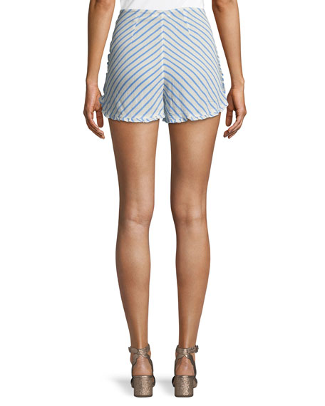 Ray Striped High-Rise Button-Up Shorts