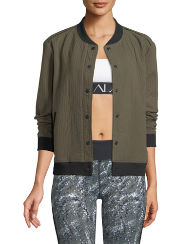 Quilted Snap-Front Cotton Bomber Jacket