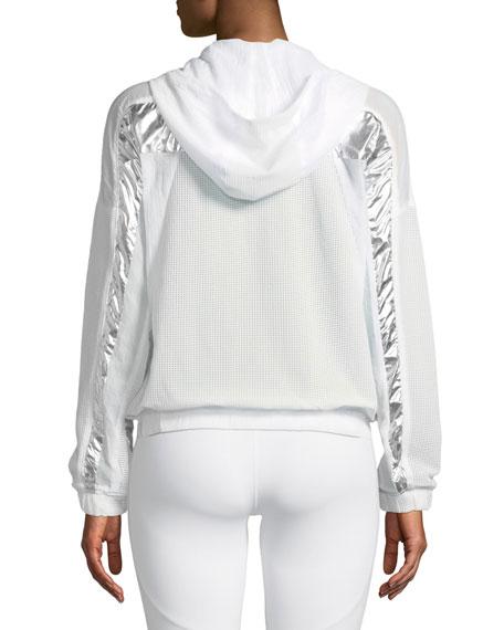 Strata Metallic Zip-Front Mesh Jacket