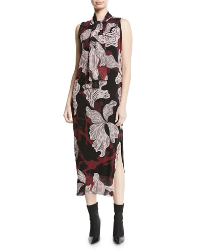 Floral-Print Sleeveless Dress with Removable Necktie