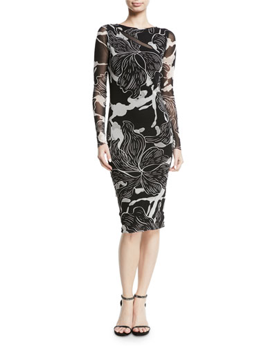 Floral-Print Long-Sleeve Sheath Dress