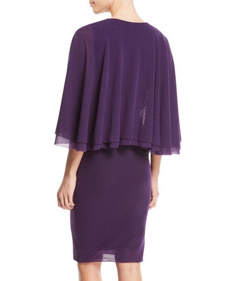 V-Neck Tulle Body-Con Capelet Dress