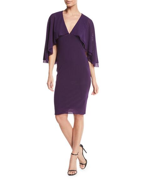 Fuzzi V-Neck Tulle Body-Con Capelet Dress