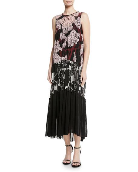 Fuzzi Patchwork Vino-Print Sleeveless Long Dress