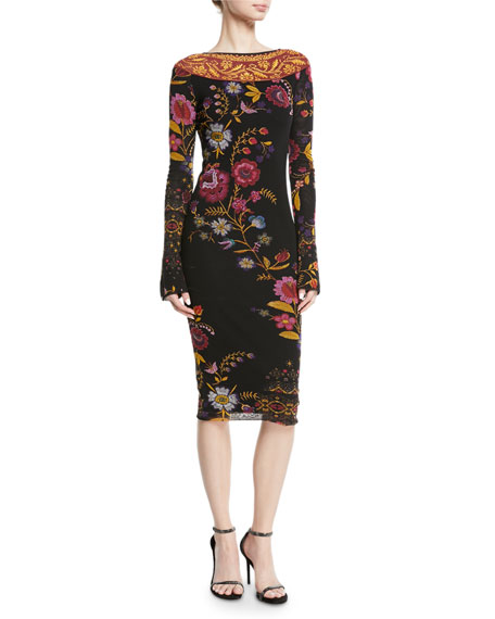 Fuzzi Fitted Long-Sleeve Floral-Print Dress