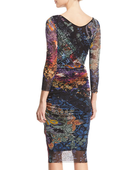 3/4-Sleeve Printed Body-Con Tulle Dress
