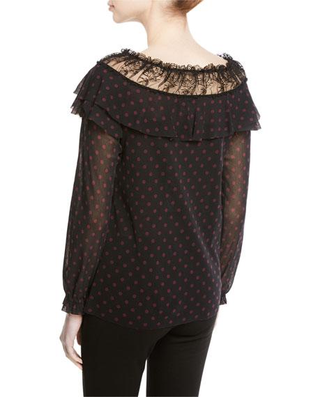 Novelty Dot Lace-Trim Ruffle Top